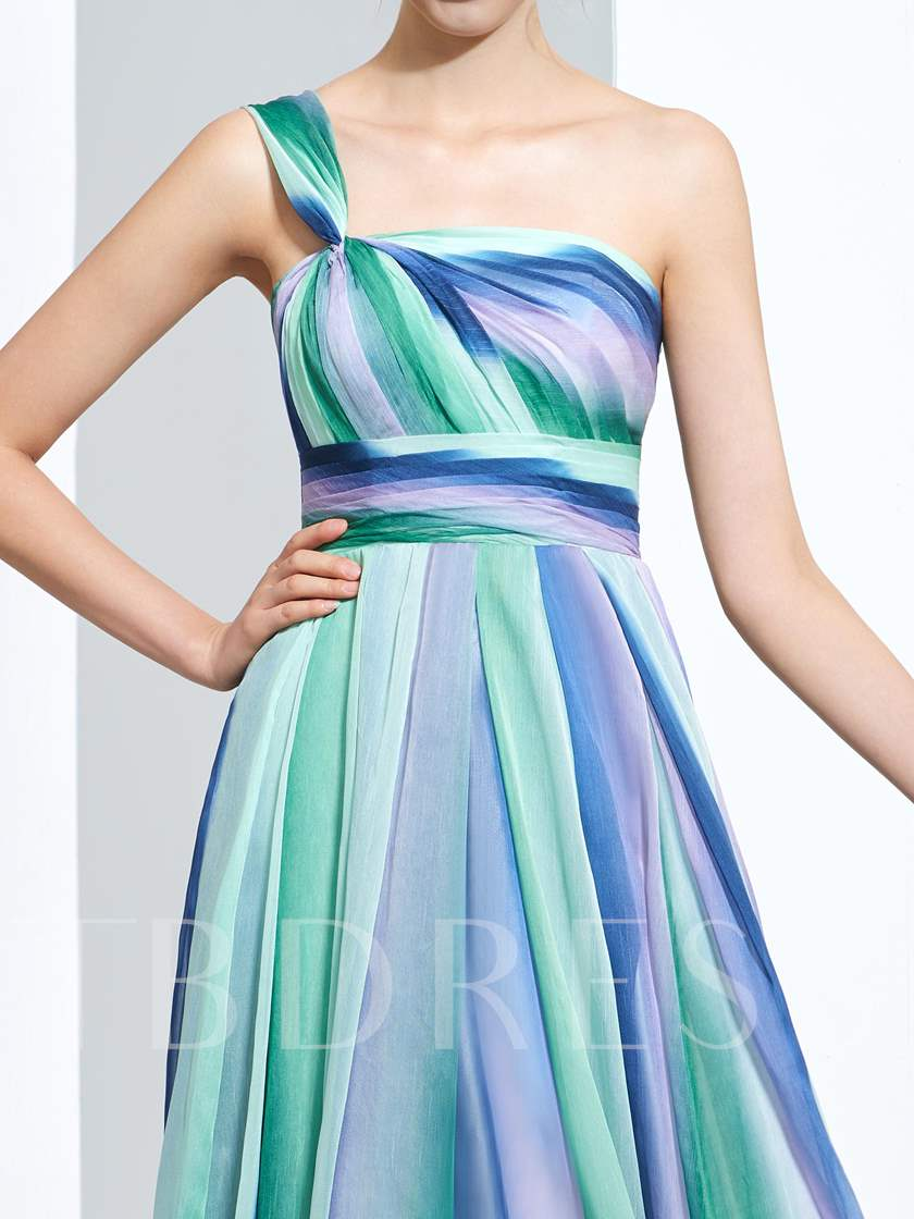 A-Line One-Shoulder Pleats Printed Floor-Length Prom Dress