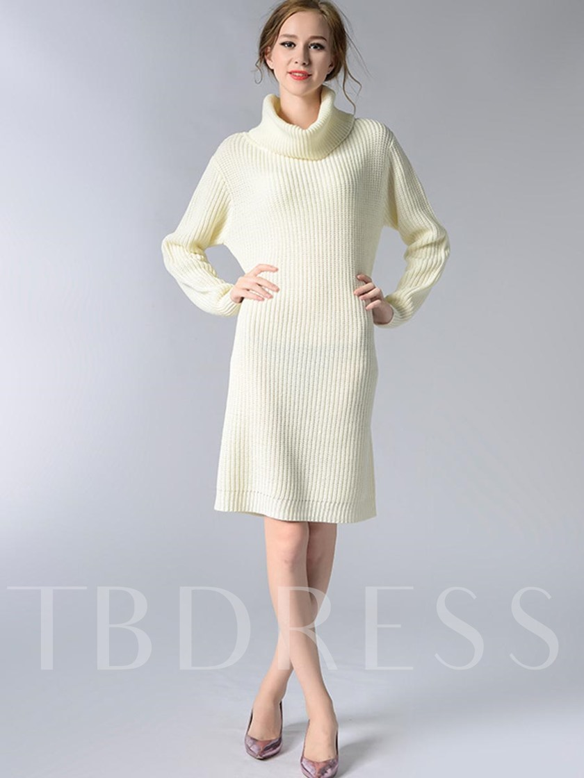 Solid Color Heap Collar Slim Women's Sweater