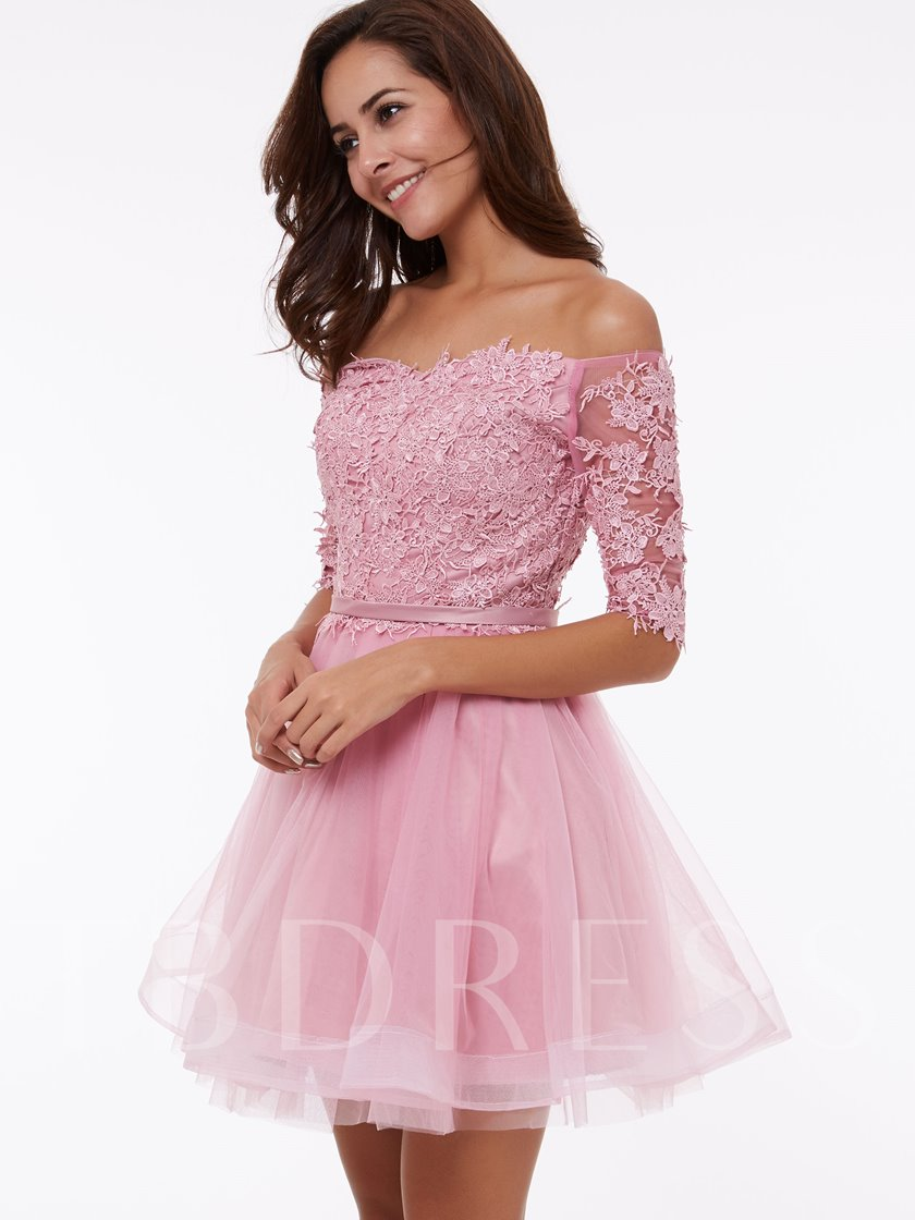 A-Line Off-the-Shoulder Appliques Homecoming Dress
