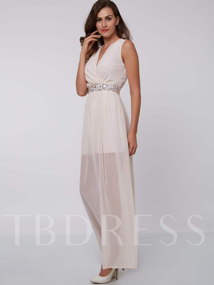 A-Line V-Neck Beading Ankle-Length Evening Dress