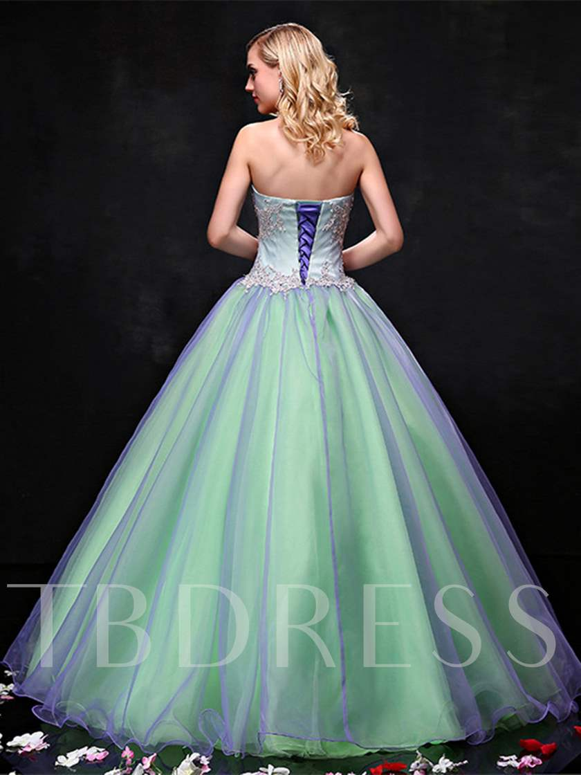 Strapless Ball Gown Appliques Pearls Quinceanera Dress