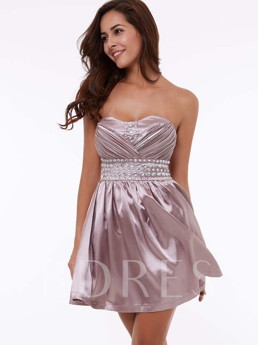 A-Line Sweetheart Beading Draped Ruched