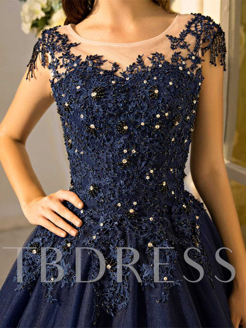 Cap Sleeves Beading Lace Quinceanera Dress
