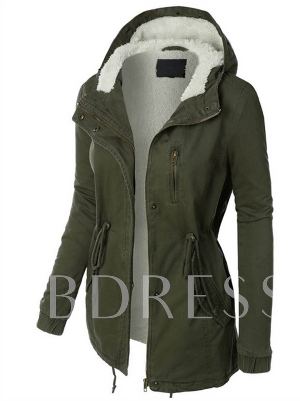 Hidden Button Zipper Pocket Hooded Plush Women's Jacket