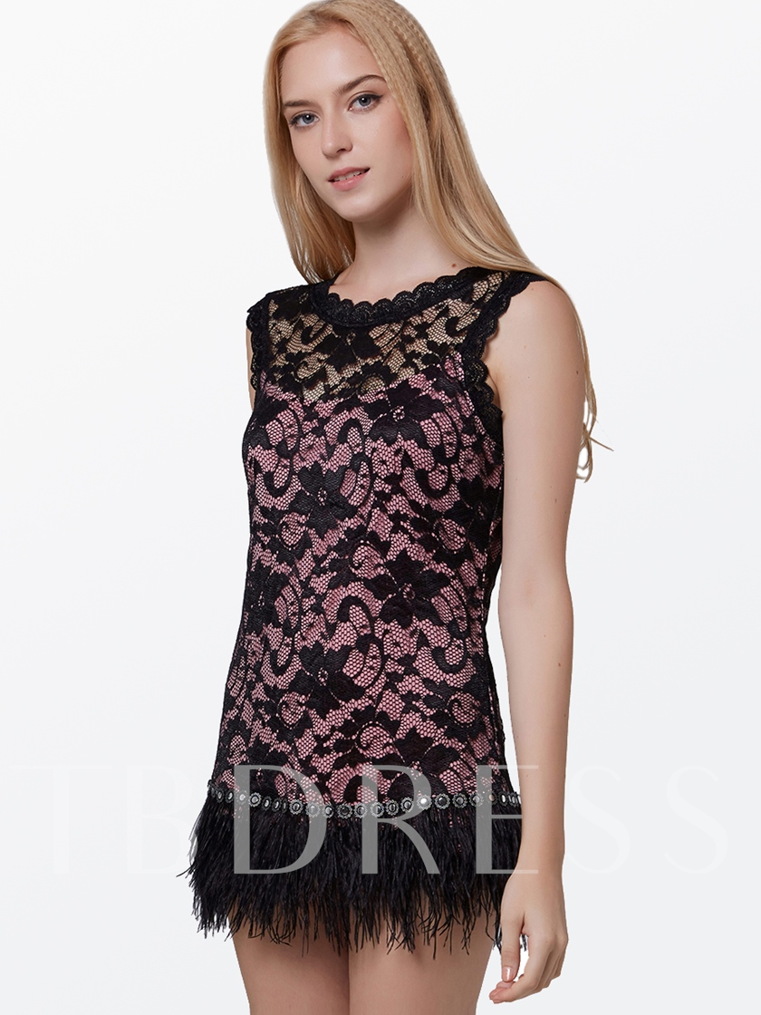Feather Decorated Lace Sleeveless Women's Bodycon Dress
