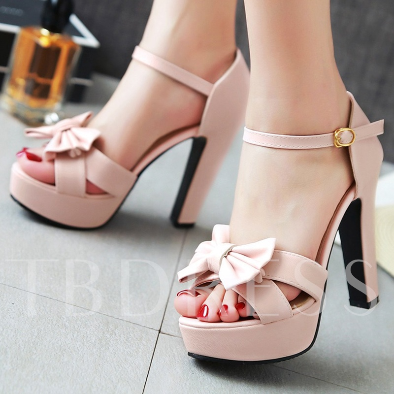 Plain Open Toe Chunky Heel Bowtie Platform Women's Sandals