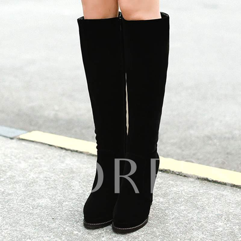Round Toe Side Zipper Knee-High Short Floss Women's Boots