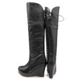 Lace-Up Back Round Toe Wedge Heel Platform Knee High Boots
