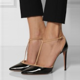 T-Shaped Buckle Color Block Stiletto Heel Women's Pumps