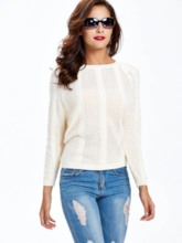 Hollow Loose Round Neck Women's Sweater
