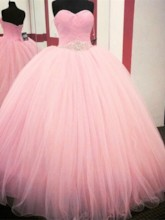 Sweetheart Rhinestone Beaded Pleats Quinceanera Dress