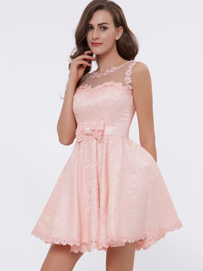 Straps Appliques Bowknot Lace Homecoming Dress