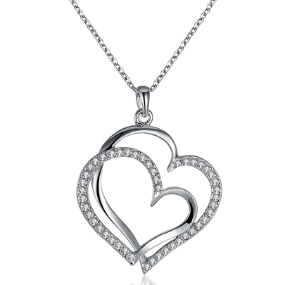 Double Heart Diamante Pendant Necklace