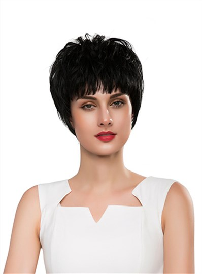 Unique Short Straight Layered Full Bangs Capless Human Hair Wig 10 Inches