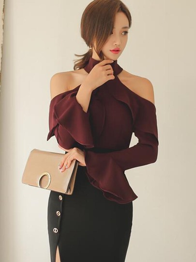 Solid Color Drop Shoulder Flare Sleeve Women's Blouse