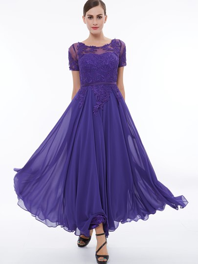 Scoop Neck Short Sleeves Appliuqes Sash Evening Dress