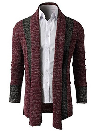 Patchwork Wool Blends Lapel Men's Casual Sweater