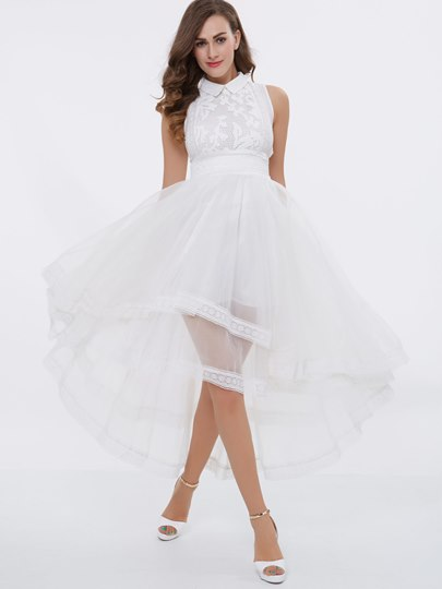 Lapel Lace A-Line High Low Prom Dress