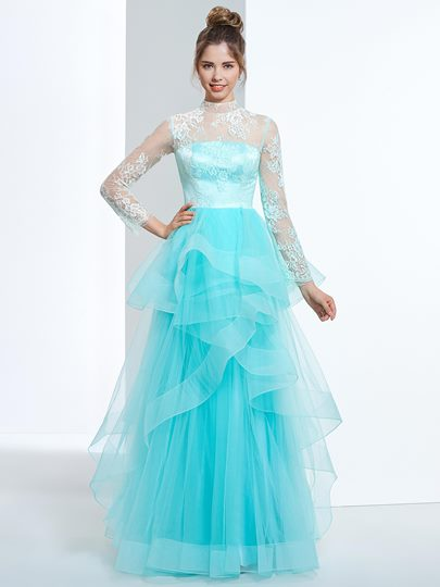 A-Line High Neck Long Sleeves Button Lace Tiered Floor-Length Prom Dress