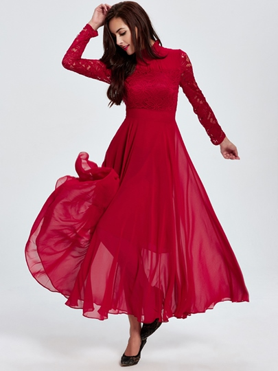 Red Lace Sleeve Women's Maxi Dress