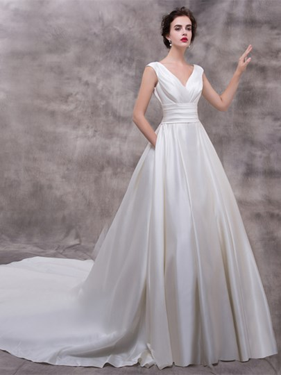 V-Neck Zipper-Up A-Line Court Train Wedding Dress V-Neck Zipper-Up A-Line Court Train Wedding Dress