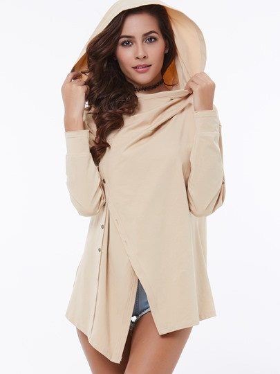 Asymmetric Button Long Sleeve Loose Women's Cardigan