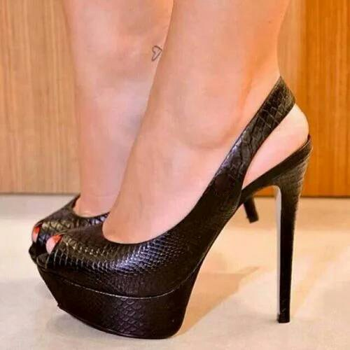 High Stiletto Heel Peep Toe Women's Pumps (Plus Size Available)