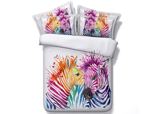 Colorful Zebra Couple Printed 4-Piece White 3D Bedding Sets/Duvet Covers