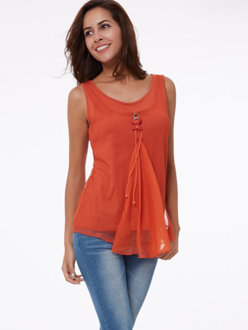Plain Ruffle Slim Solid Color Block Women's Tank Top