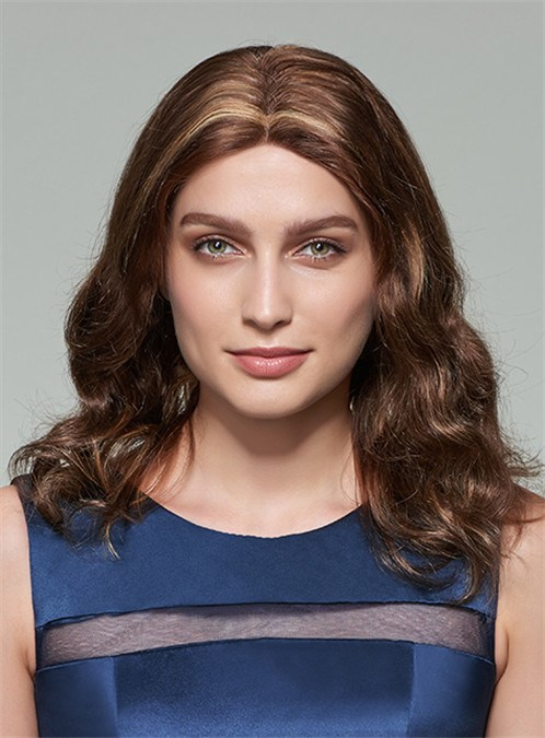 Long Wavy Middle Part Lace Front Human Hair Wig 18 Inches