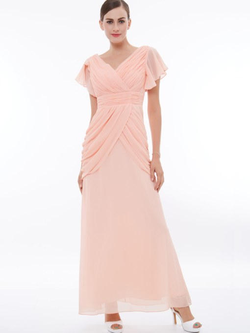 V-Neck Cap Sleeves Pleats Long Sleeves Evening Dress