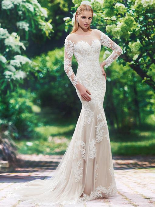 Scoop Neck Long Sleeves Mermaid Appliques Wedding Dress