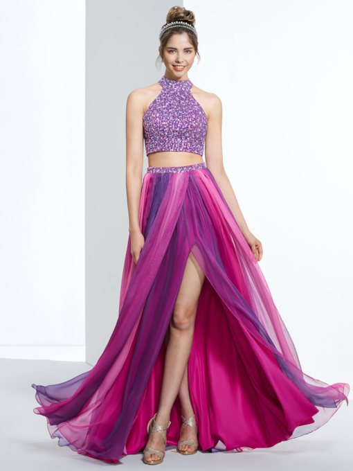 A-Line Halter Beading Sequins Split-Front Prom Dress