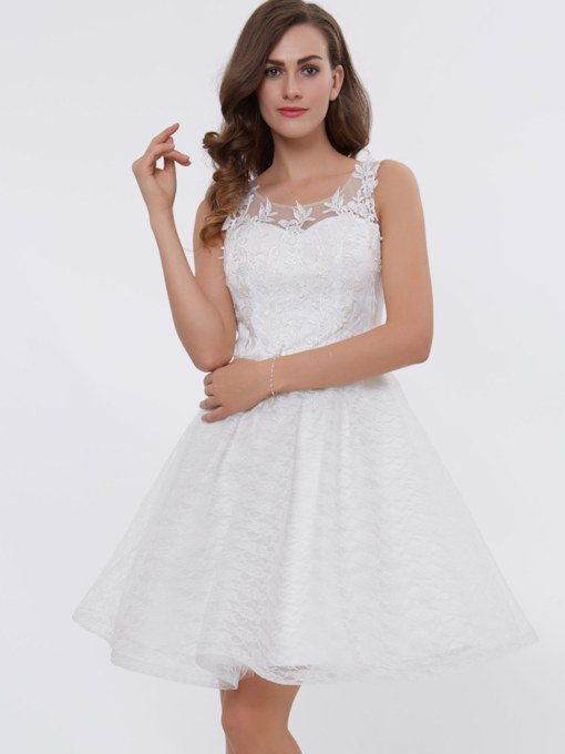 Straps Appliques Knee-Length Lace Homecoming Dress