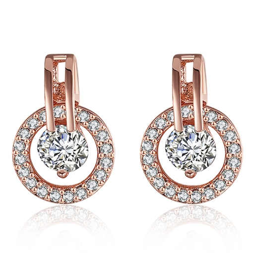 Rose Gold Zircon Round Earrings