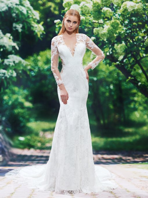Lace Appliques V-Neck Long Sleeves Mermaid Wedding Dress
