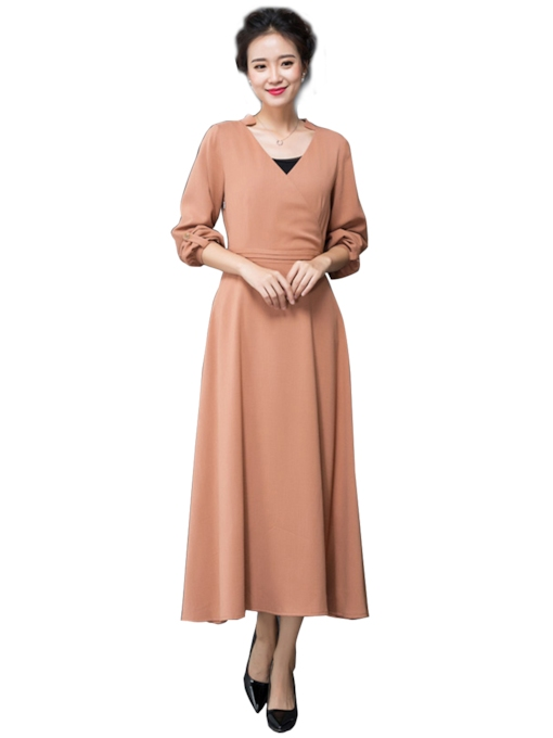 V-Neck Mid-Calf Long Sleeve Lantern Sleeve Women's Dress