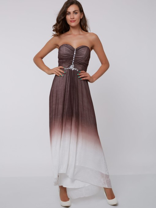 Sweetheart A-Line Beading Asymmetrical Evening Dress