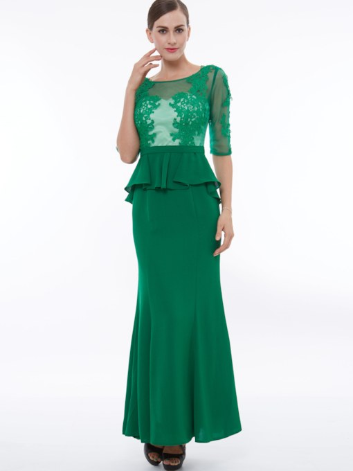 Half Sleeves Appliques Ruffles Sheath Evening Dress