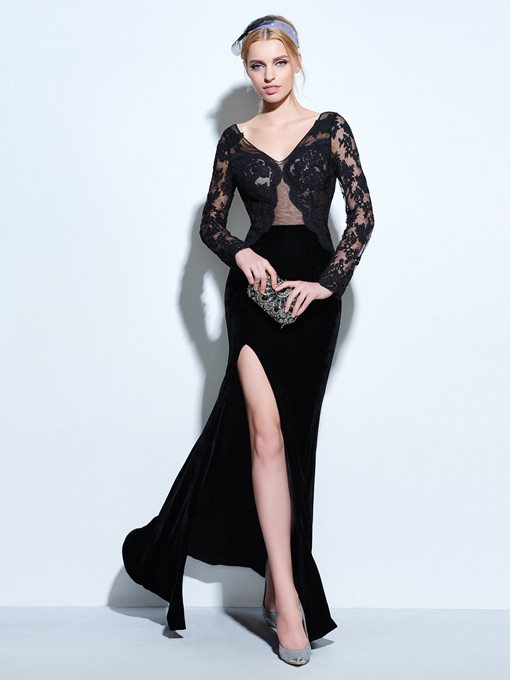 Velvet V-Neck Sheath Lace Split-Front Evening Dress