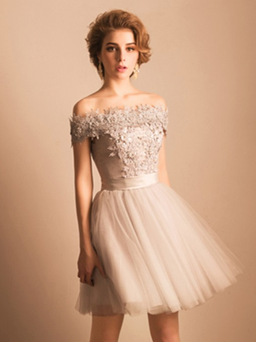 Off-the-Shoulder Lace Pearls Short Homecoming Dress
