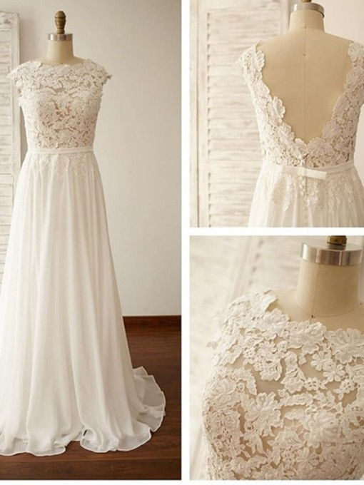 Scoop Neck Low Back Lace Beach Wedding Dress