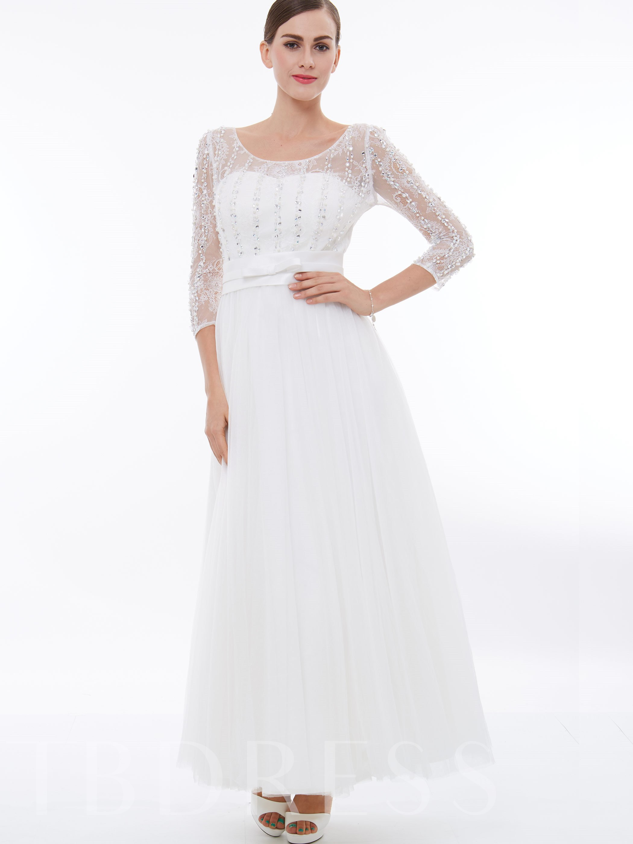 Image of 3/4 Length Sleeves Beading Tulle Evening Dress