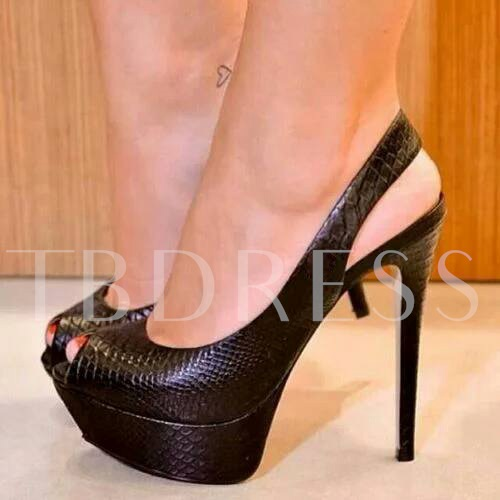 Image of High Stiletto Heel Peep Toe Womens Pumps (Plus Size Available)