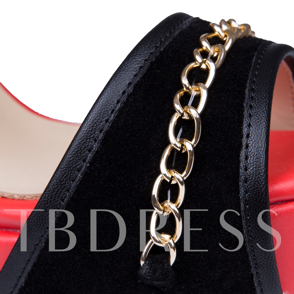 Color Block Open Toe Stiletto Heel Back Zipper Chain Women's Sandals