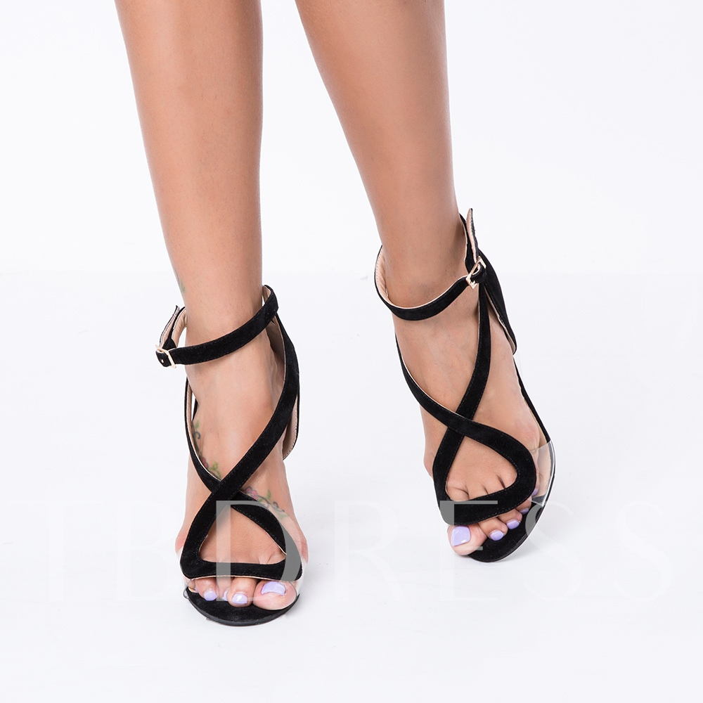 Open Toe Buckle Plain Suede Stiletto Heel Women's Sandals