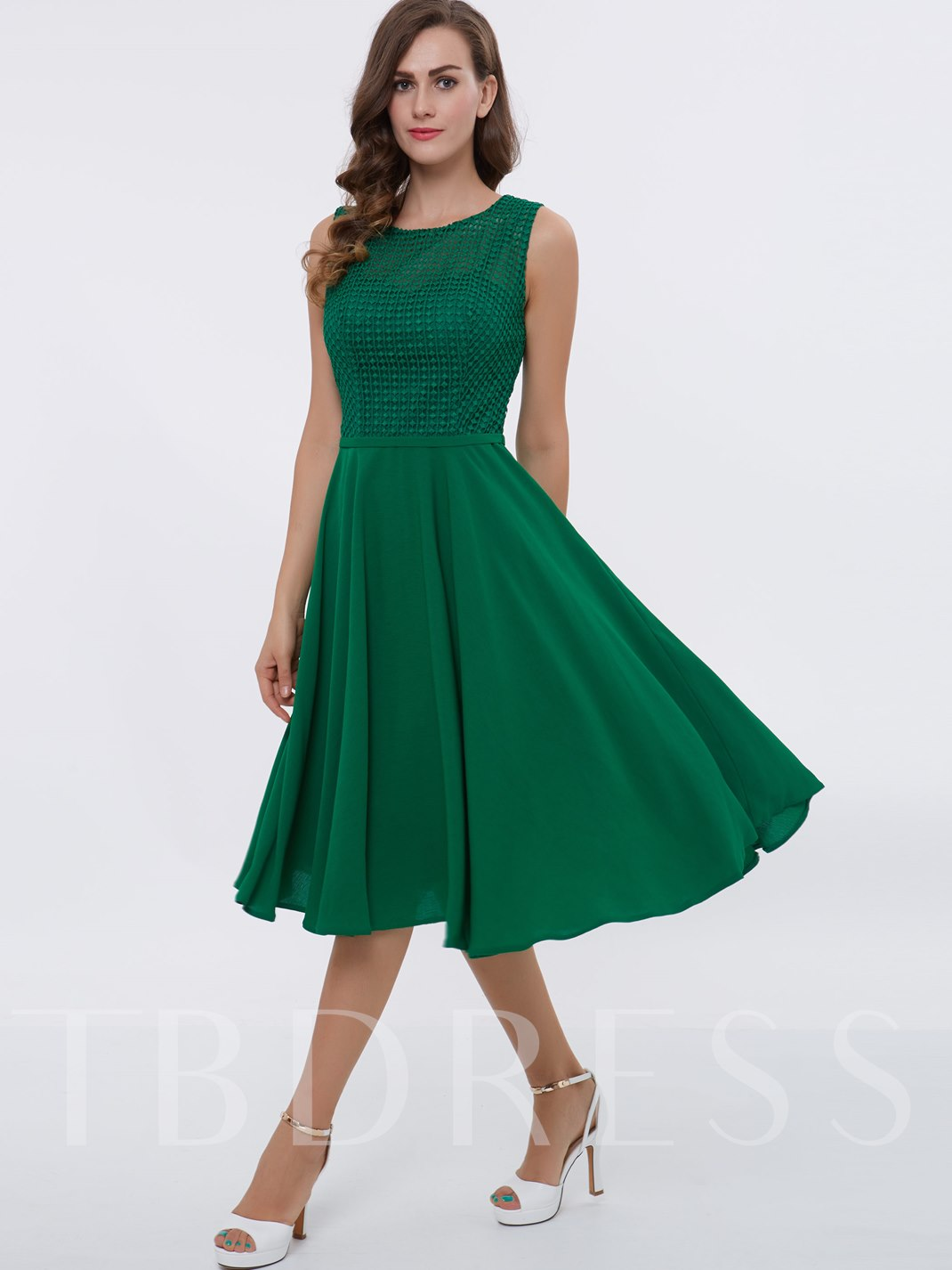 Straps A-Line Lace Tea-Length Cocktail Dress