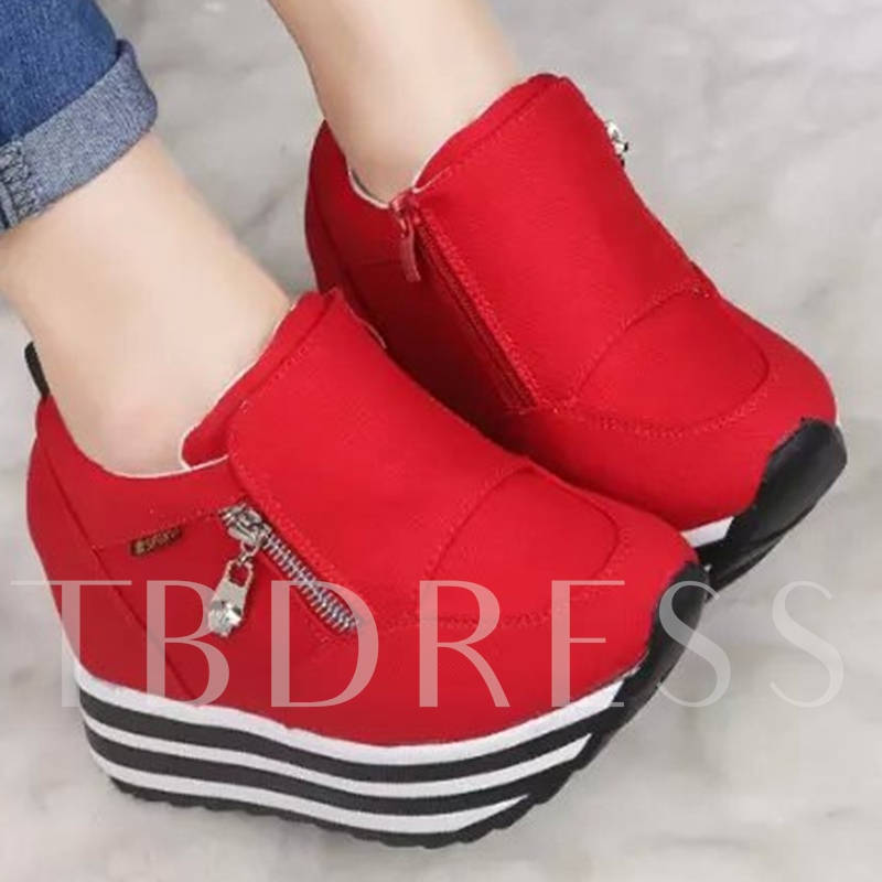 Side Zipper Round Toe Platform Plain Women's Sneakers