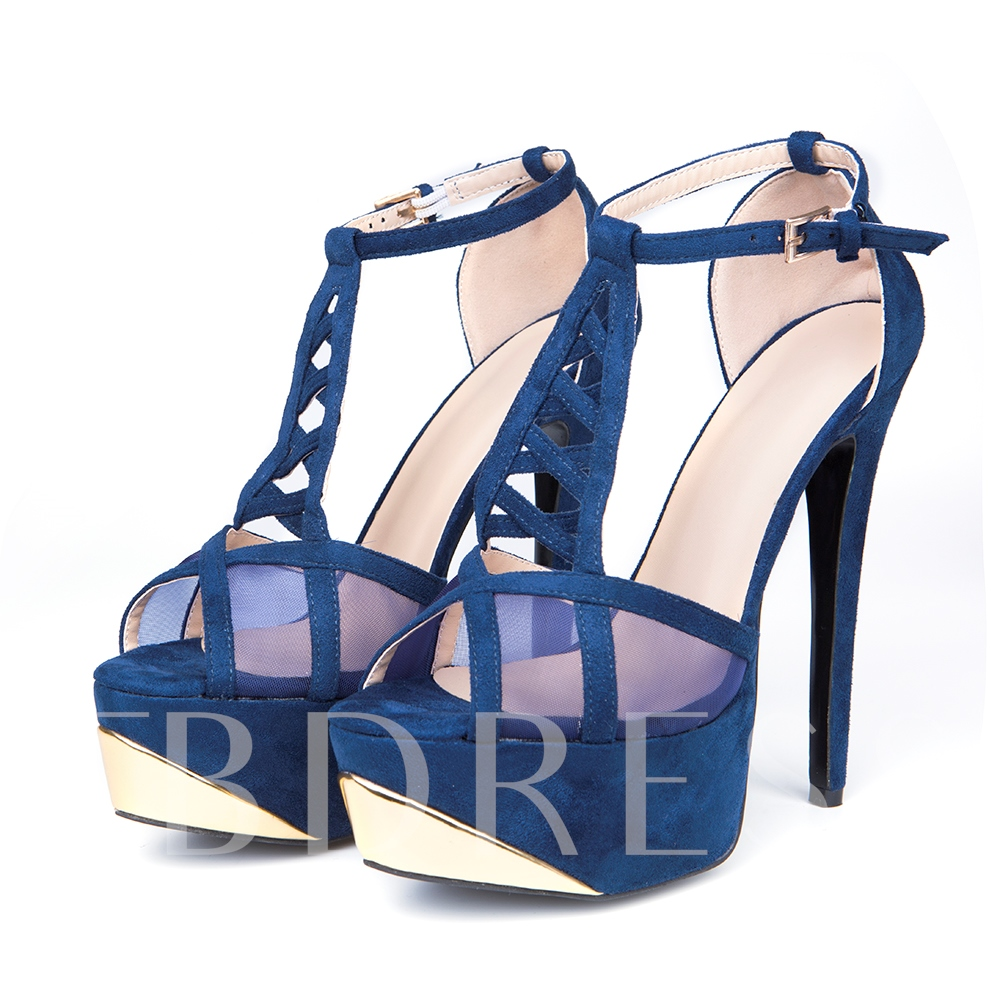 Hollow Stiletto Heel Open Toe Platform Women's Pumps