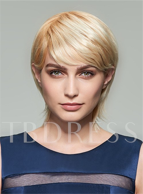 Short Straight Boy Cuts Blonde Human Hair With Full Bangs Capless Wigs 12 inches